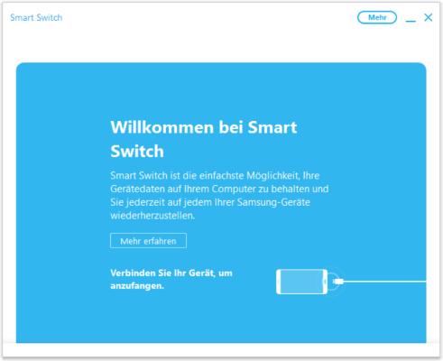Starten Sie zunächst SmartSwitch an Ihrem Rechner und verbinden Sie dann mit einem USB-Kabel Ihr Smartphone mit Ihrem Rechner