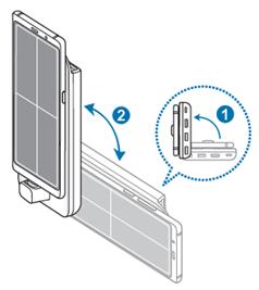 Wenn Ihr Mobilgerät mit der Samsung DeX Station verbunden ist, stellen Sie beide senkrecht zum Boden auf