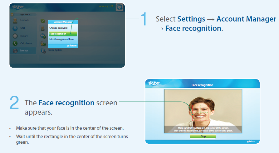 Face recognition on UA55ES8000 TV