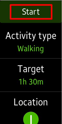 Tap Start to begin exercising