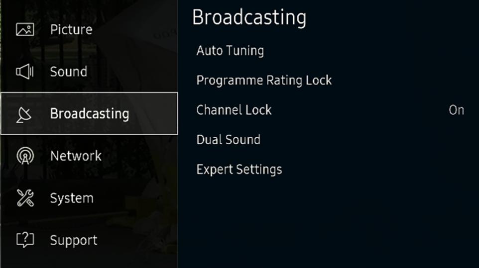 Menu > Broadcasting
