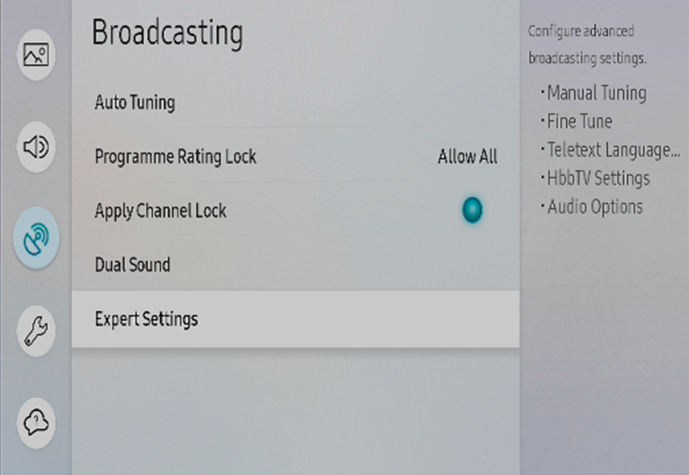 Broadcasting > Expert Settings