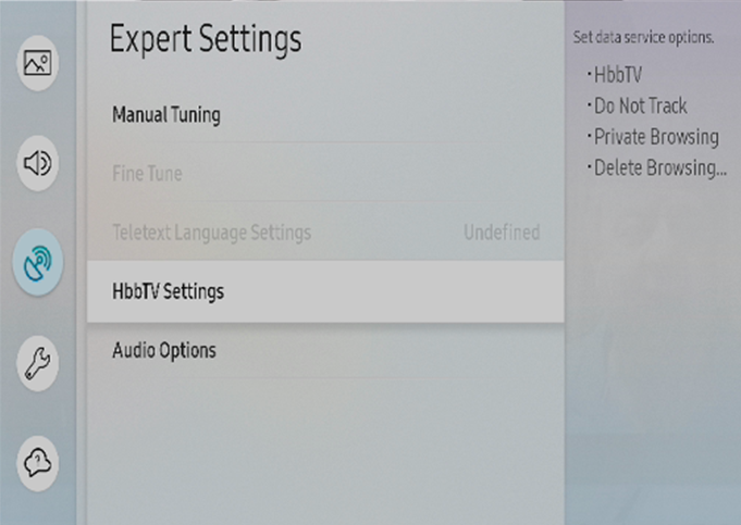 Broadcasting > Expert Settings > HbbTV Settings
