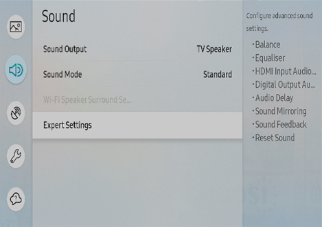 Sound > Expert Settings