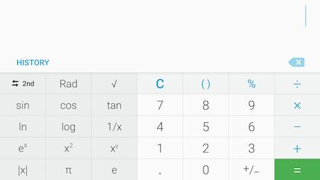 Bagaimana cara menggunakan kalkulator dengan fungsi yang lebih lengkap pada Galaxy S7?