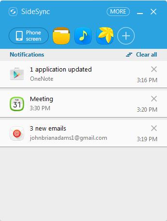 La fenêtre des notifications de SideSync s'ouvrira sur votre ordinateur