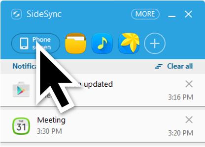 Lorsque votre appareil mobile est connecté à votre ordinateur, cliquez sur « Phone screen »