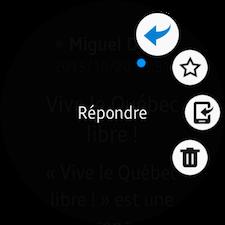 L'icône Options supplémentaires permet de répondre au courriel, le définir comme favori, l'afficher ou le supprimer