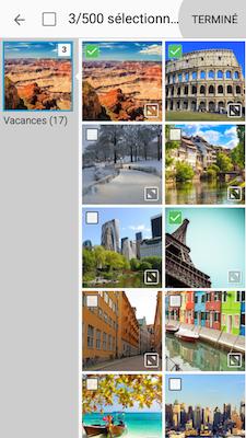 Touchez l'album contenant les photos que vous voulez partager. Cochez la (ou les) case(s) qui correspond(ent) à la (ou aux) photo(s) que vous voulez partager et touchez TERMINÉ