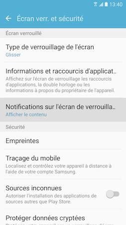 Touchez « Notifications sur l'écran de verrouillage »