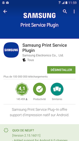 À la fin du processus d'installation, appuyez deux fois de suite sur la touche Retour de votre Galaxy S7 pour revenir au menu Impression