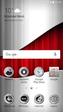 Votre appareil installera le nouveau thème et vous ramènera automatiquement à l'écran d'accueil