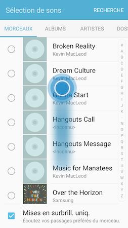 Faites défiler la liste des extraits musicaux disponibles sur votre Samsung Galaxy S7