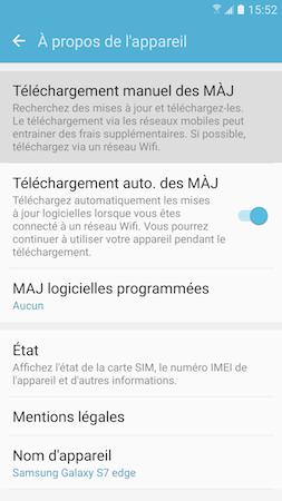Touchez « Téléchargement manuel des MÀJ »