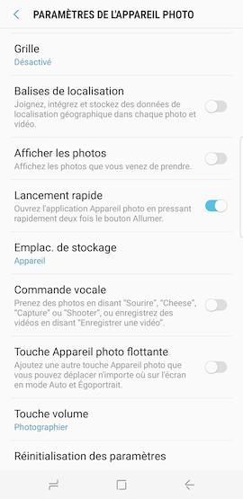 Comment lancer rapidement l application appareil photo a partir de mon Samsung Galaxy S8