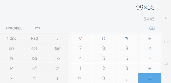 Si vous faites pivoter votre téléphone de 90 degrés, l'application Calculatrice affichera les fonctions scientifiques