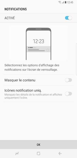 Après avoir choisir un type de verrouillage de l'écran, vous pouvez décidez d'afficher ou de masquer les notifications émises par votre appareil