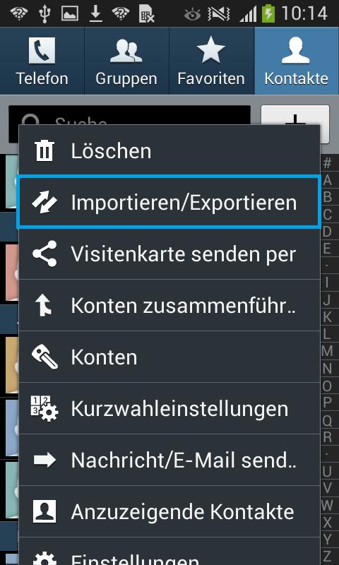 Wählen Sie Importieren/Exportieren