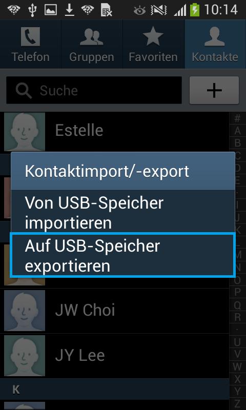 auf USB-Speicher exportieren