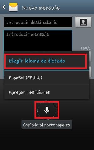 Modo de introducción de texto de teclado a voz