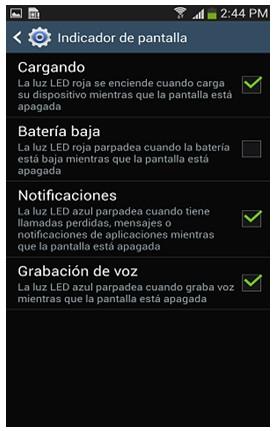 ¿Cómo quitar la luz de notificaciones del Samsung Galaxy S4?