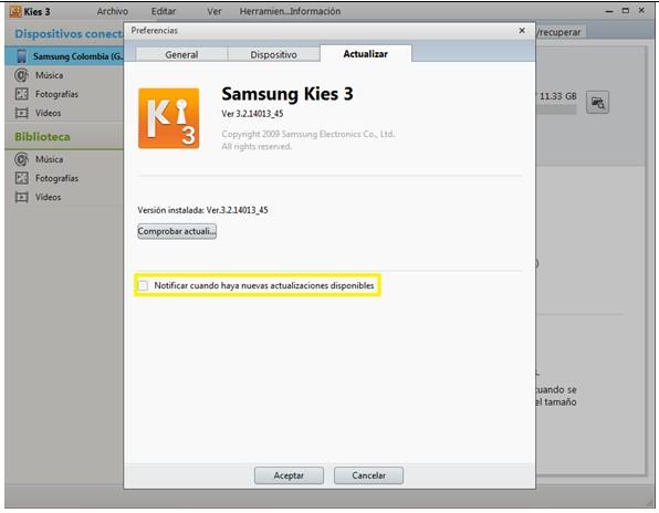 ¿Cómo comprobar actualizaciones en Kies 3?