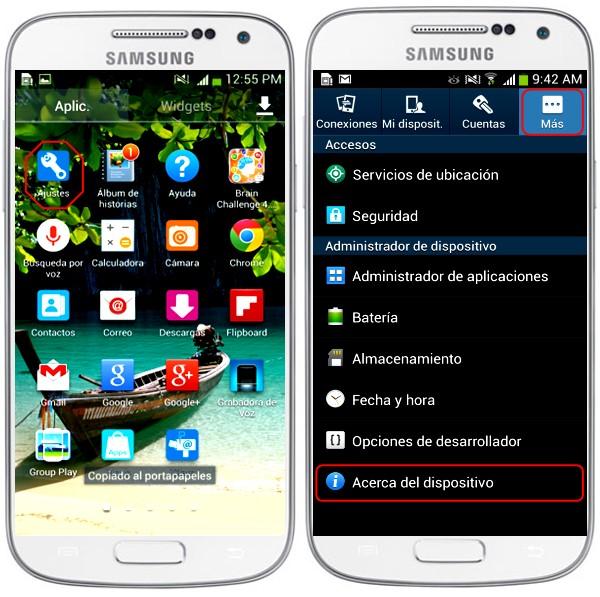 ¿Cómo buscar el modelo y el número de serial de mi Smartphone Samsung?