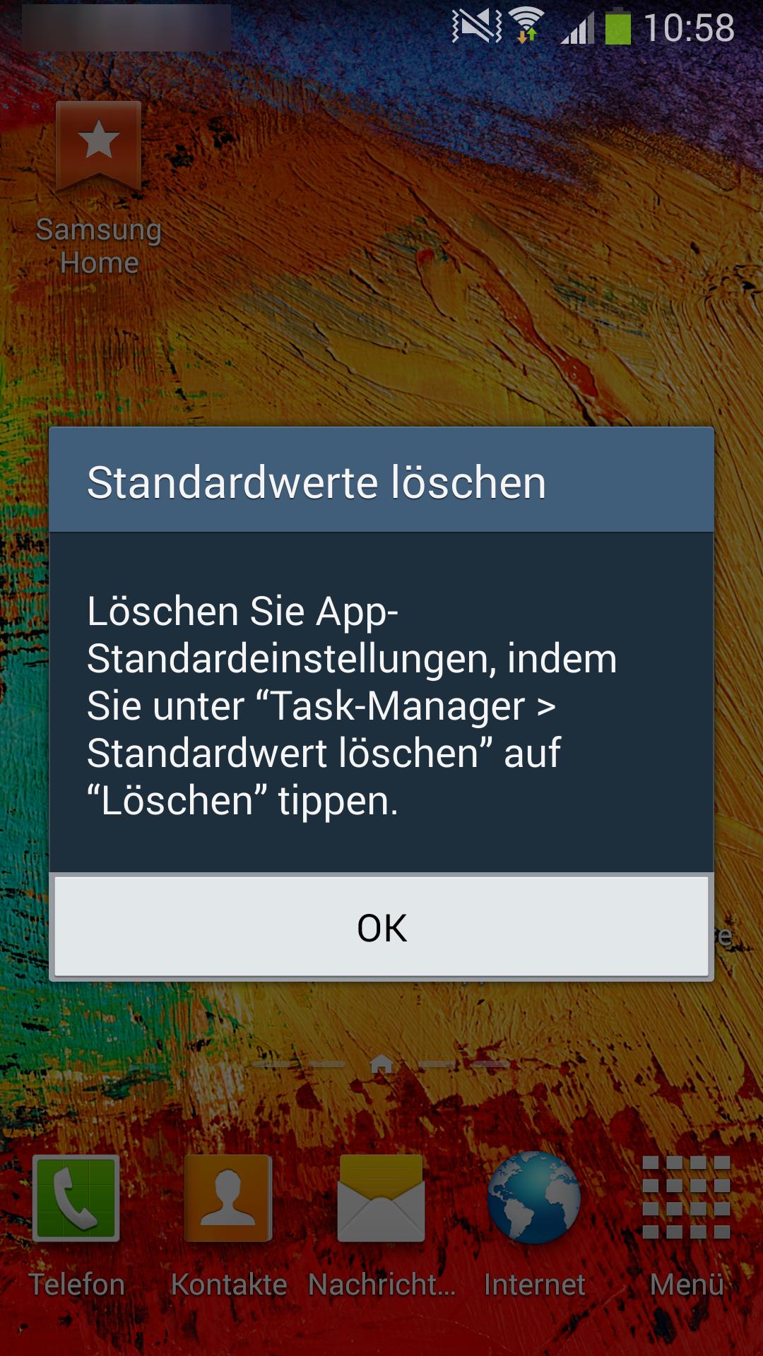 """Samsung Smartphone, """"Vorgang abschließen mit"""" - Anwendungsauswahl, Standardwerte löschen"""