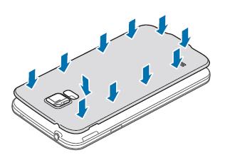 Samsung Galaxy S5, Akku und SIM-Karte einlegen, Schritt 4, Abdeckung schließen