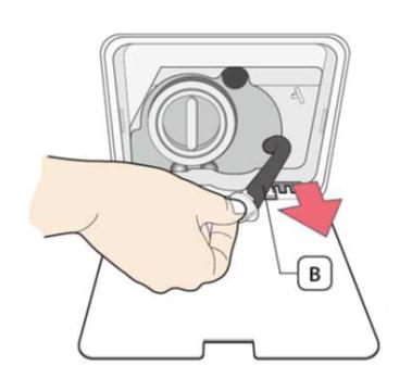 Fremdkörperfalle einer Samsung Waschmaschine reinigen, Schritt 5, Notentleerungsschlauch herausziehen.