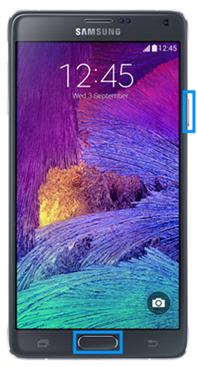 Screenshoterstellung Galaxy Modell mit Home Taste, Ein-/Aus und Home-Taste drücken