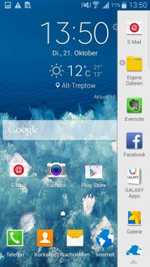 Samsung Galaxy Note 4, Funktion Multi Window, Darstellung der beiden Fenster