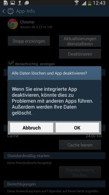 Samsung Galaxy Smartphone bis Android 5.x, Vorinstallierte Apps aktivieren/deaktivieren, Schritt 4, zweite Sicherheitsabfrage