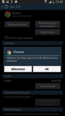 Samsung Galaxy Smartphone bis Android 5.x, Vorinstallierte Apps aktivieren/deaktivieren, Schritt 5, Deaktivieren der Anwendung