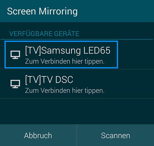 Verwendung Samsung TV Screen Mirroring, Schritt 6, Smartphone, Wiedergabegeräte anzeigen