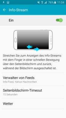Seitenbildschirm des Galaxy s6 (edge/edge+) Funktionen, Info Stream aktivieren