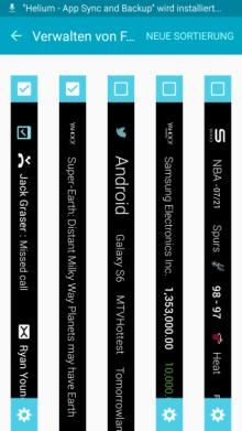 Seitenbildschirm des Galaxy s6 (edge/edge+) Funktionen, Info Stream, Verwalten von Feeds
