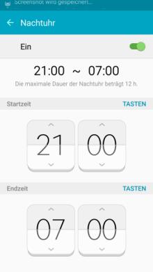 Seitenbildschirm des Galaxy s6 (edge/edge+) Funktionen, Nachtuhr Dauer einstellen