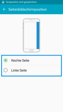Seitenbildschirm des Galaxy s6 (edge/edge+) Funktionen, Seitenbildschirmposition einstellen