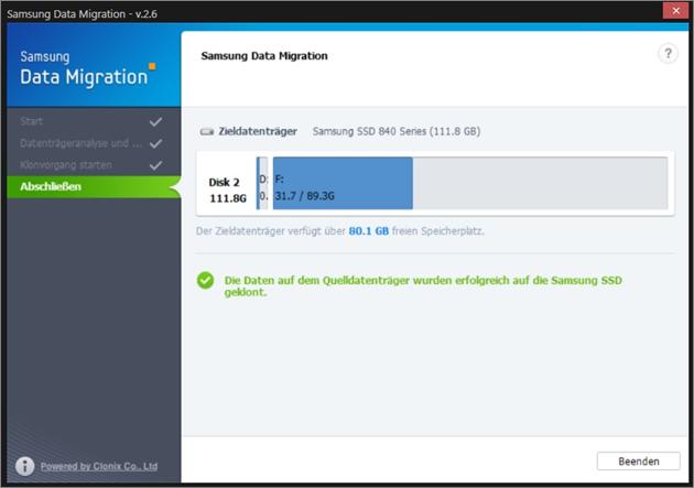 Samsung, Betriebssystem auf SSD klonen, Klonvorgang abschliessen