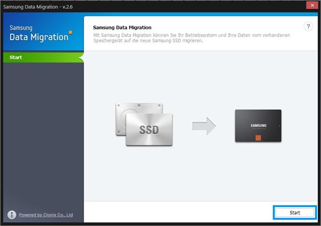 Samsung, Betriebssystem auf SSD klonen, Samsung Data Migration, Start