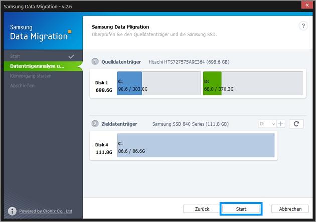 Samsung, Betriebssystem auf SSD klonen, Zieldatenträger