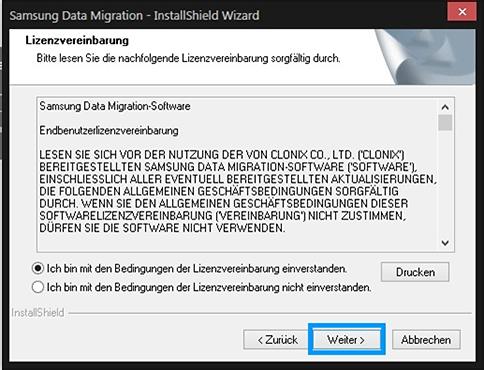 Samsung, Betriebssystem auf SSD klonen, Lizenzvereinbarung