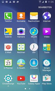 Anwendung aus Ordner bei Samsung S6 Edgen entfernen, Bildschirm bearbeiten