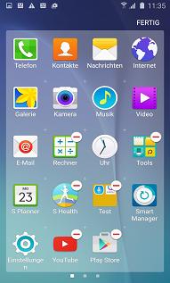 Anwendung aus Ordner bei Samsung S6 Edgen entfernen, Symbol gedrückt halten