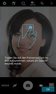 Samsung Galaxy S6 (edge/edge+), Selfies aufnehmen, Pulssensor drücken