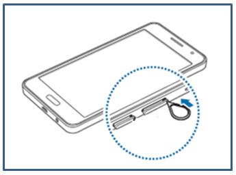 Samsung Galaxy A3/A5/A7, Speicherkarte einsetzen, Schritt 1, Speicherkarten-Fach mit Gerät öffnen