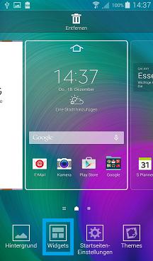 Samsung Galaxy A7, Widget zum Startbildschirm hinzufügen, Schritt 2, Fläche für Widget aktivieren