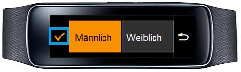 Samsung Gear Fit, Profil erstellen, Schritt 3, Geschlecht auswählen