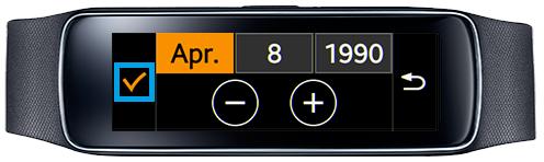 Samsung Gear Fit, Profil erstellen, Schritt 4, Geburtsdatum auswählen